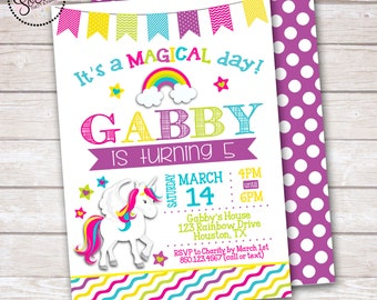 Magical Unicorn Girl Birthday Party Invitation DIGITAL OR PRINTED