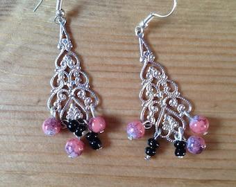 engraved silver chandelier earrings