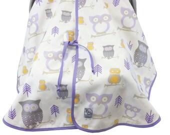Owl Car Seat Tent Lavender Gray Yellow