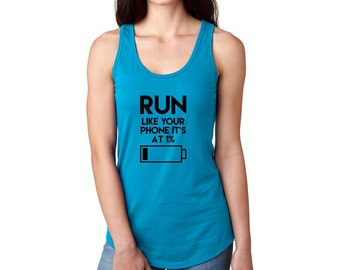 Girls Tank top with cellphone battery low