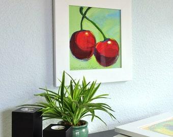 Framed Print-Red Cherries-10X10-Modern Fine Art