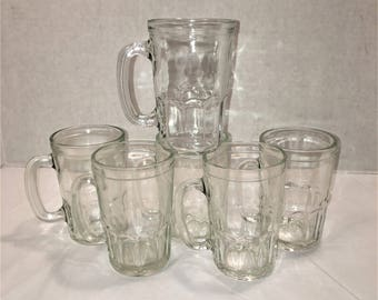 Vintage Jelly Jar Drinking Glasses With Handle Set of 6 Jelly Jar Tumblers   lot540