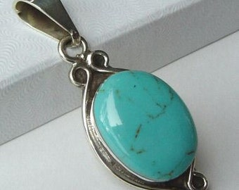 Vintage Turquoise and Sterling Silver pendant