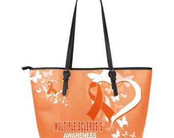 Multiple Sclerosis Awareness Leather Tote Bag
