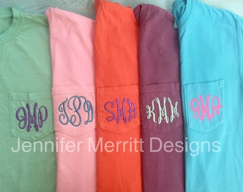 Comfort Colors Monogram T-shirt, Comfort Colors, Comfort Colors Monogram, Comfort Colors Pocket Monogram,  bridesmaid gift Gift for Her