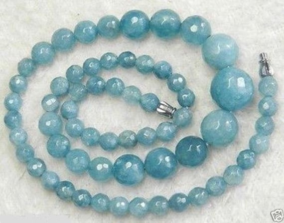 Lovely 6-14mm raw aquamarine knotted necklace 18 inches