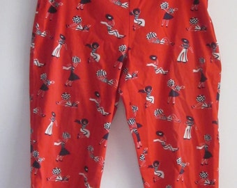 Vintage RED PEDAL PUSHERS- 60's Cotton Side Hidden Zipper Capri Pants Navy Blue & White Print on Red with Polka Dot Bow at Hem Split