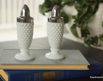 Hobnail Milk Glass Salt and Pepper shakers Westmoreland