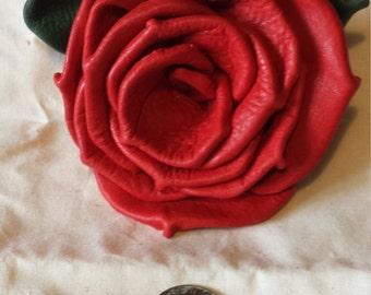 Red Deerskin Leather Rose Pin