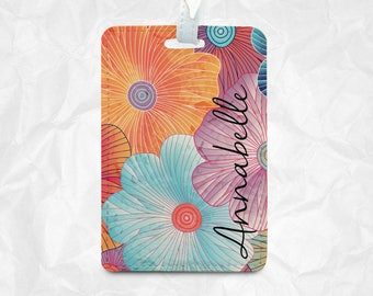 Big Floral with personal Name Tag, Luggage Tag, Bag Tag