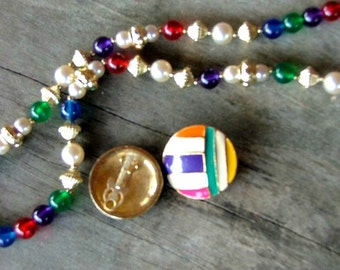 Retro Earrings and Necklace in Mardi Gras Colors