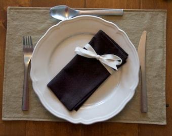 Dark Brown Napkins, Linen, Table, 4