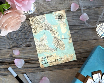 CHARLESTON SC Gift Card Postcard South Carolina Charleston Sc Vintage map Retro Post Card Thank you Note Greeting Card Gift Print Wall Art