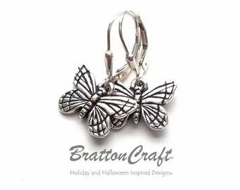 Silver Butterfly Earrings - Butterfly Earrings - Monarch Butterfly Earrings - Bug Earrings - Insect Earrings - Butterfly Jewelry