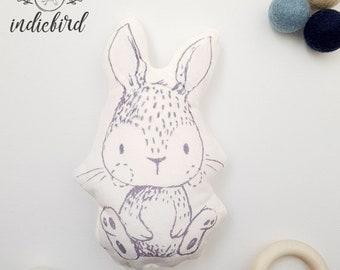 Bunny Personalised Plush Rattle, baby rattle, grey bunny plush toy, keepsake, Baby shower gift.