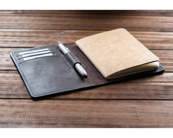Personalized leather field notes cover with pen holder field notes wallet personalized leather journal cover notebook cover pocket journal.