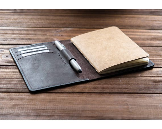 Personalized Leather Field Notes Cover With Pen Holder Field Notes Wallet Personalized Leather Journal Cover Notebook Cover Pocket Journal. by Etsy