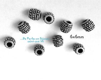 1 lot 6 6x6mm barrel shape silver metal beads