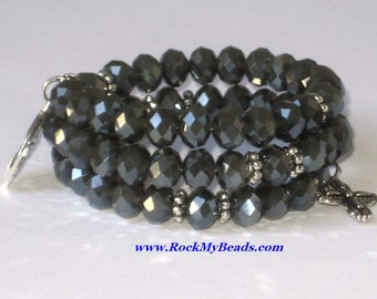 Grey Crystal Memory Wire Rosary Bracelet,rosary,religious bracelet,praying beads,wrap rosary,rosary beads,prayer beads,wrap bracelet