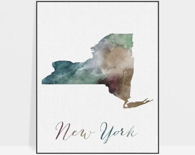 New York state map, New York watercolor map, Wall art, New York map poster, New York state, office decor, travel gift, ArtPrintsVicky.