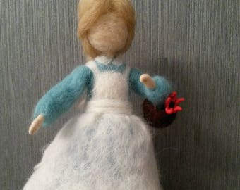 Needle felted doll Girl with flower, Waldorf needle felted doll, Wool art doll