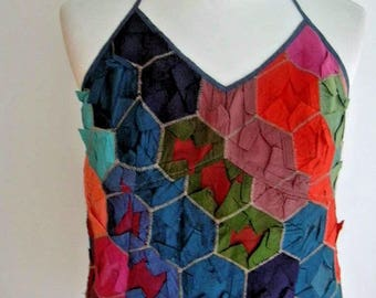 Kenzo Jeans Bright Multi-Color 100% Silk Patchwork Camisole Halter Top Sash Tie Arts & Crafts Inspired UK 8-10 US 4-6