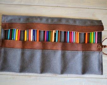 Pencil Roll, Pen Roll, Pencil Roll Up Case, Pencil Roll Canvas, Artist pouch, Pencil Travel Case
