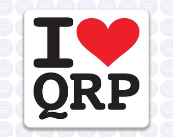 I Love QRP Radio Decal - Low Power Radio Decal - Bumper Sticker Radio Ham - I Heart QRP Radio Laptop Decal - Permanent or Removable