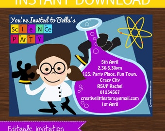 Science Invitation DIY Printable - INSTANT DOWNLOAD - Girl Brown Hair