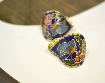 1980s Butterfly Cloisonne Hoop Clip Earrings