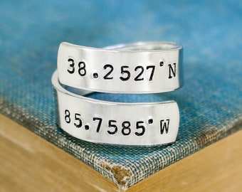 Custom Coordinates Ring - Personalized Ring - Couples Ring - Long Distance Relationship - Anniversary Gift - Adjustable Aluminum Ring