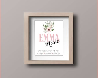 Baby Subway Art - birth announcement wall art - pink flower and greenery