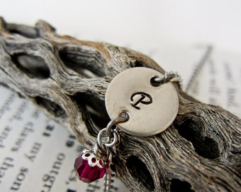 Stamped Initial Letter Name  Bracelet - Personalized with Custom Birthstone Charm - One Disc