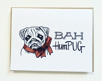 Bah HumPUG - Hand Lettered Holiday Card