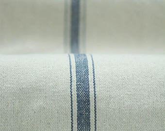 Grain sack Fabric by the Yard - Five Stripes Navy