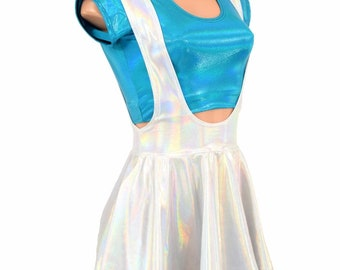 """2PC """"Looking Glass"""" Peacock Holographic Cap Sleeve Crop Top & Flashbulb Holographic Suspender Mini Skirt Set - 155204"""