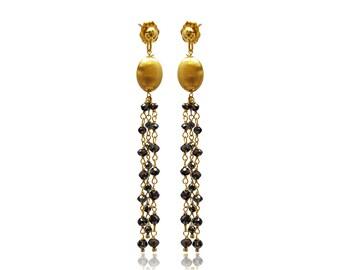 Black Diamond 14K Yellow Gold Dangle Earrings