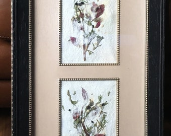 Handmade Paper Art, Botanical Paper Art, Framed Wall Decor, Home Decor, at Nature in Things
