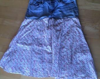 floral skirt- upcycled , jeans skirt