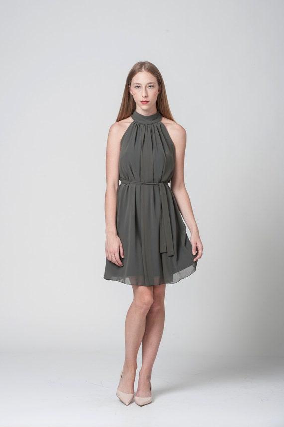 Olive-Kleid Abendkleid Cocktail-Kleid kurzes Kleid