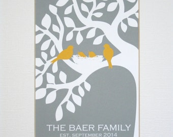 Custom New Family Wall Art Print / Wedding Gift / Family Tree / Established / Birds in Tree