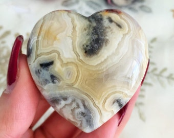 Happy Lace Agate Crystal Heart / Laughter Lace Agate