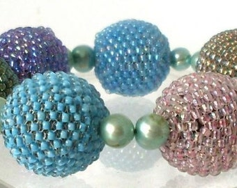 Bold ball bracelet pastel colors OOAK