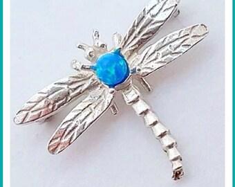 Blue opal dragonfly brooch, Sterling silver dragonfly brooch, art nouveau style brooch, dragonfly jewelry
