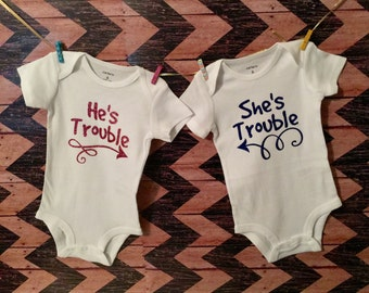 Twins - He's Trouble - She's Trouble - Twin Boys - Twin Girls - Paternal Twins - Maternal Twins - Baby Announcement - Funny Baby