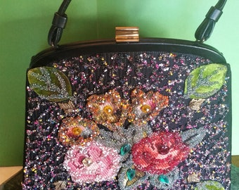 Handbag Purse Vintage SOURE New York Never Used Beaded Black Pristine Condition 50'S