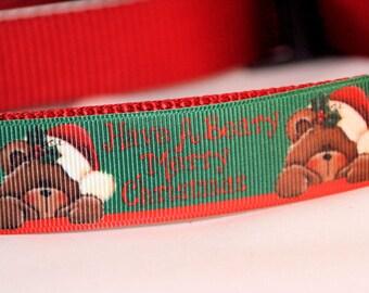 Beary Merry Christmas Ribbon Dog Collar, Adjustable, with Optional Leash