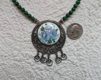 Vintage Russian Finift Floral Enamel Pendant with Malachite Bead Necklace