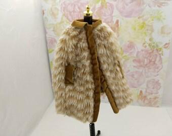 Barbie  Doll Faux Fur coat  fashions Outfit 11 inch doll Original Black Label tag