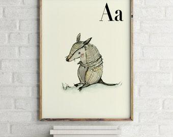 Armadillo print, nursery animal print, alphabet cards animals, alphabet letters, abc letters, alphabet print, animals prints for nursery